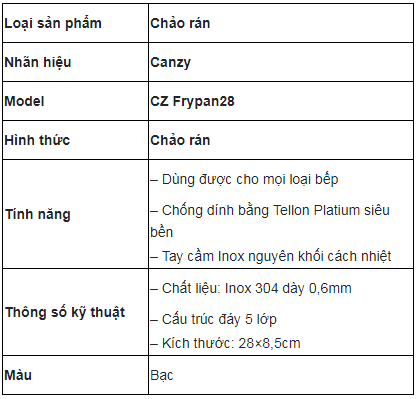 Chảo Canzy CZ Frypan 28